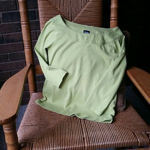 Rafaella soft green, long sleeve top, size S